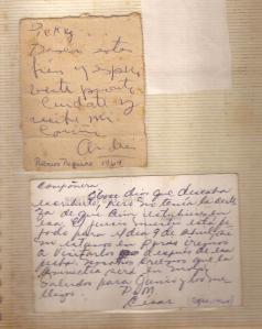 Mensajes de sus demás compañeros presos en improvisados papelitos y cajistas de fósforos